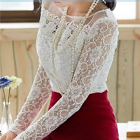 الرباط-القميص-سليم-2015-الخريف-المرأة-زائد-حجم-xxl-الأورجانزا-الدانتيل-قمم-o-عنق-طويل-كم